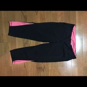 Pink mesh and black active pants